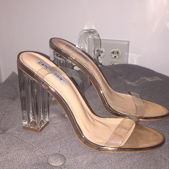 b7ceb6cad33 cape robbin Shoes | Clear Heels | Poshmark